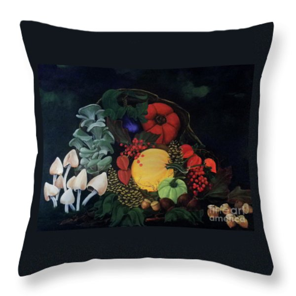 Holiday Harvest Throw Pillow by D L Gerring