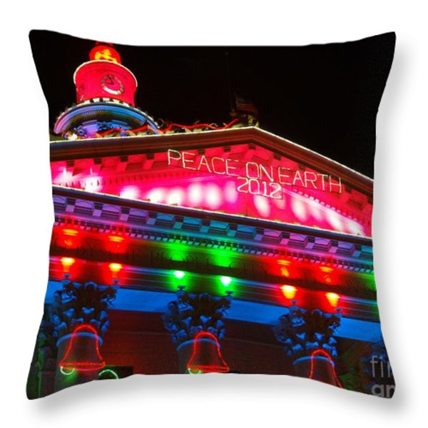 Holiday Lights 2012 Denver City and County Building L1 Throw Pillow by Feile Case