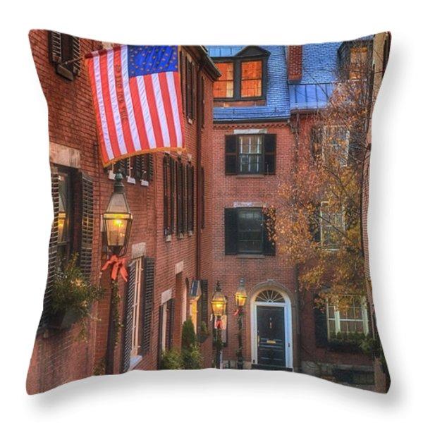Holiday On Acorn Throw Pillow by Joann Vitali
