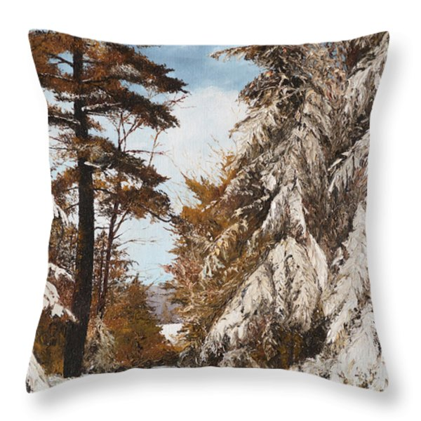 Holland Lake Lodge Road - Montana Throw Pillow by Mary Ellen Anderson