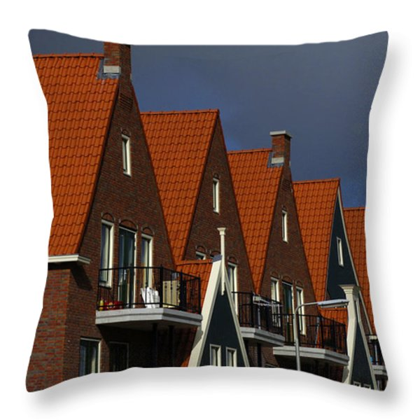 Holland Row Of Roof Tops Throw Pillow by Bob Christopher