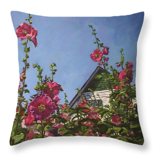 Hollyhocks At Green Gables Throw Pillow by Christine Montague