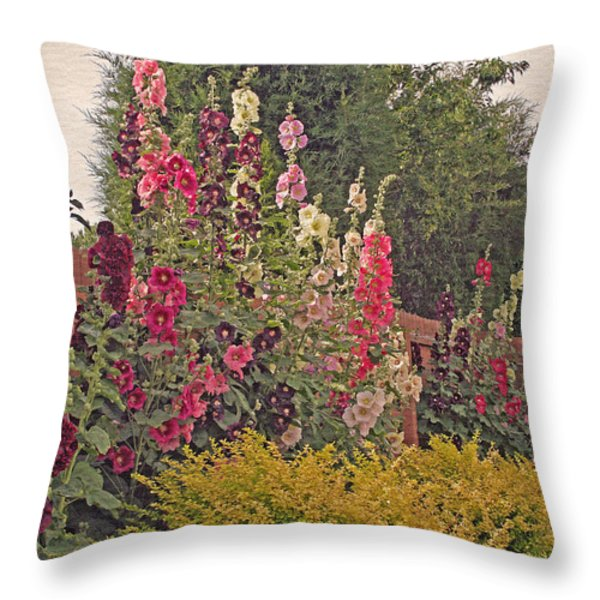 Hollyhocks Throw Pillow by Kay Novy