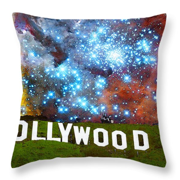 Hollywood 2 - Home Of The Stars By Sharon Cummings Throw Pillow by Sharon Cummings