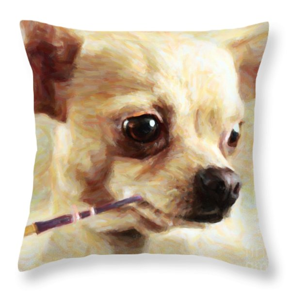 Hollywood Fifi Chika Chihuahua - Painterly Throw Pillow by Wingsdomain Art and Photography