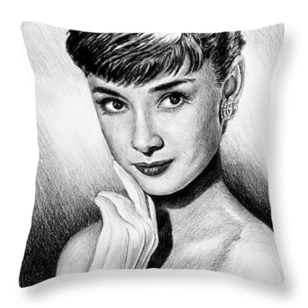 Hollywood Greats Hepburn Throw Pillow by Andrew Read