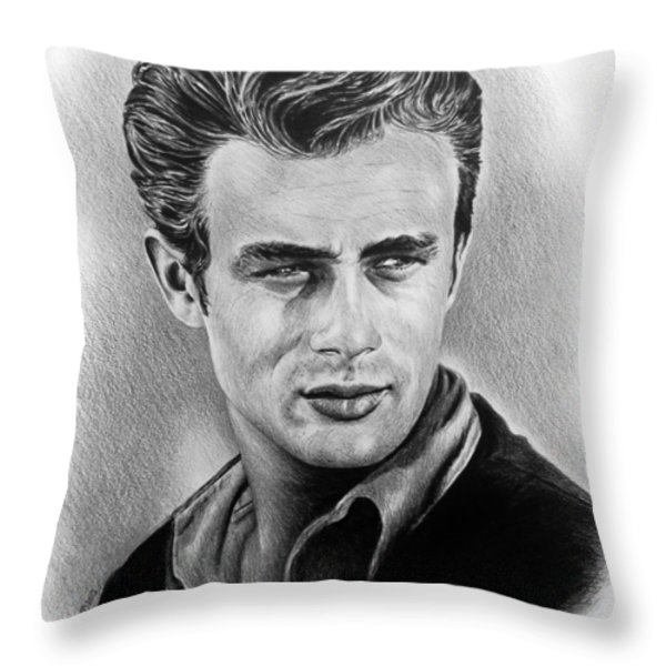 Hollywood Greats James Dean Throw Pillow by Andrew Read