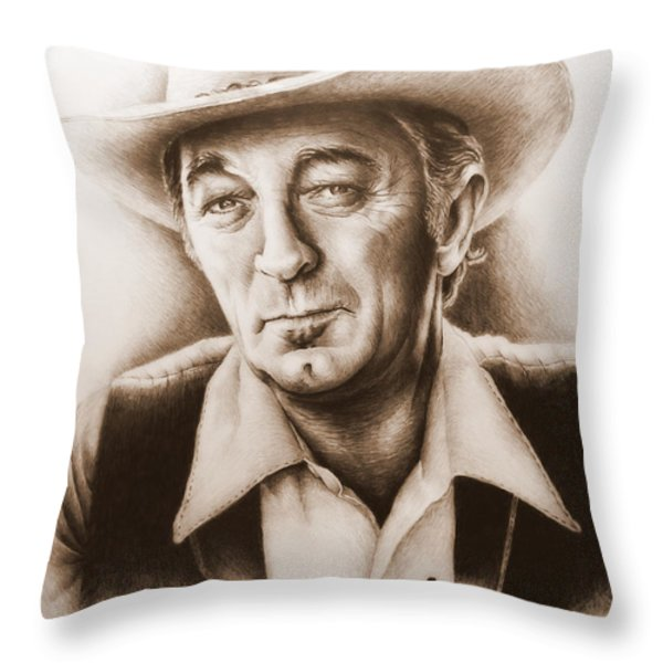 Hollywood Greats Mitchum Throw Pillow by Andrew Read