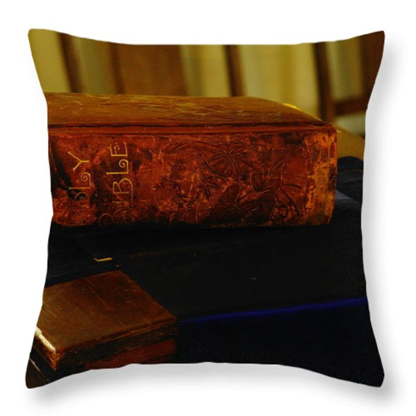 Holy Bible In Lincoln City Throw Pillow by Jeff  Swan