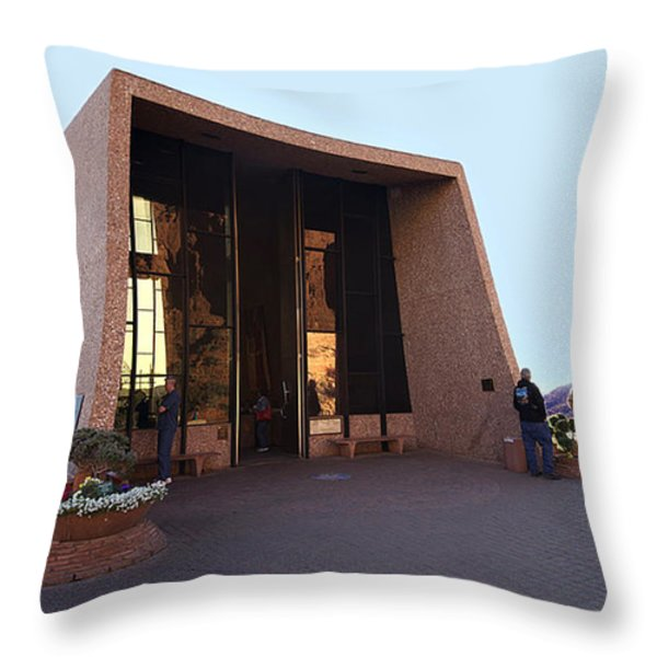 Holy Cross Or Red Rock Chapel Rear View Throw Pillow by Bob and Nadine Johnston