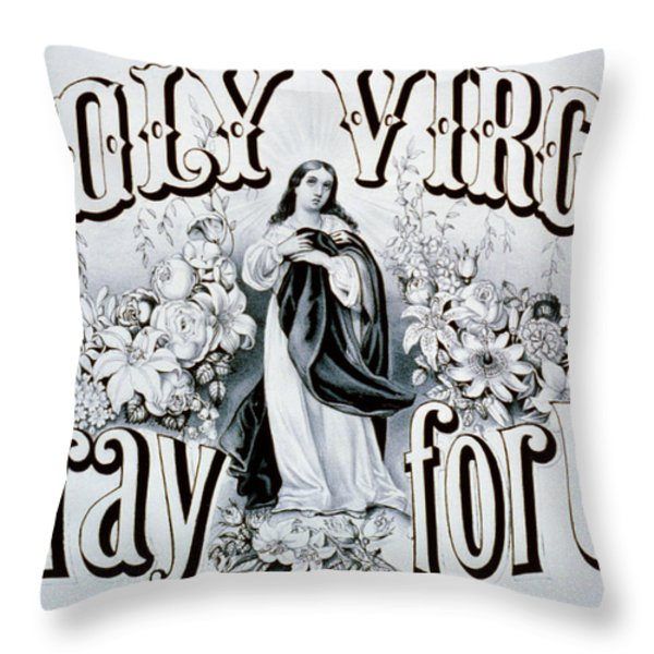 Holy Virgin Pray For Us Throw Pillow by Digital Reproductions