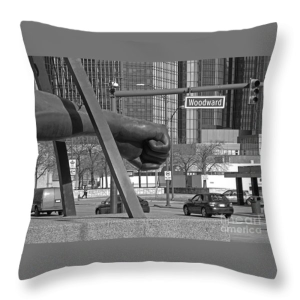 Homage to Joe Louis bw Throw Pillow by Ann Horn