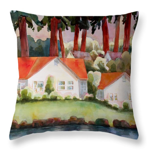 Home by the Lake Throw Pillow by Blenda Studio