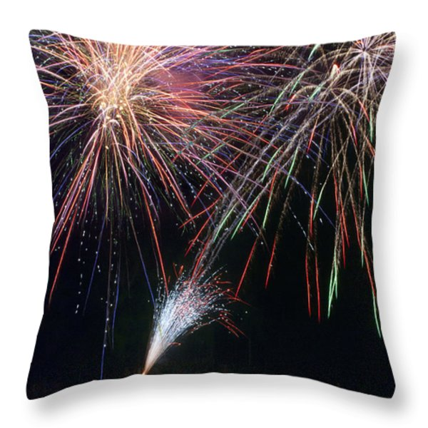 Home of the Brave Fireworks Throw Pillow by Christina Rollo