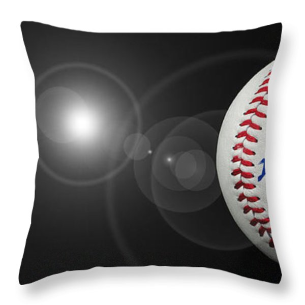 Home Run - Baseball - Sport - Night Game - Panorama Throw Pillow by Andee Design