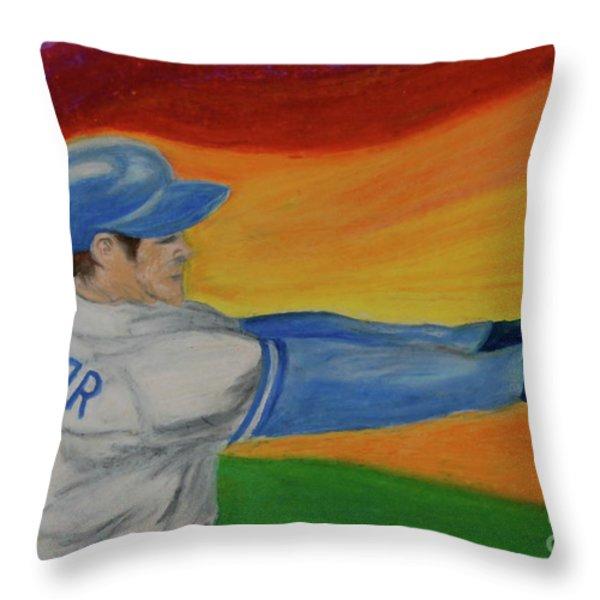 Home Run Swing Baseball Batter Throw Pillow by First Star Art