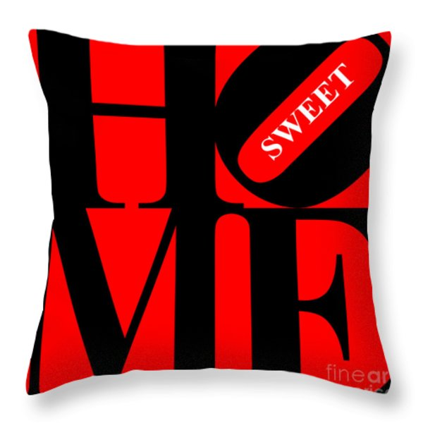 Home Sweet Home 20130713 Black Red White Throw Pillow by Wingsdomain Art and Photography
