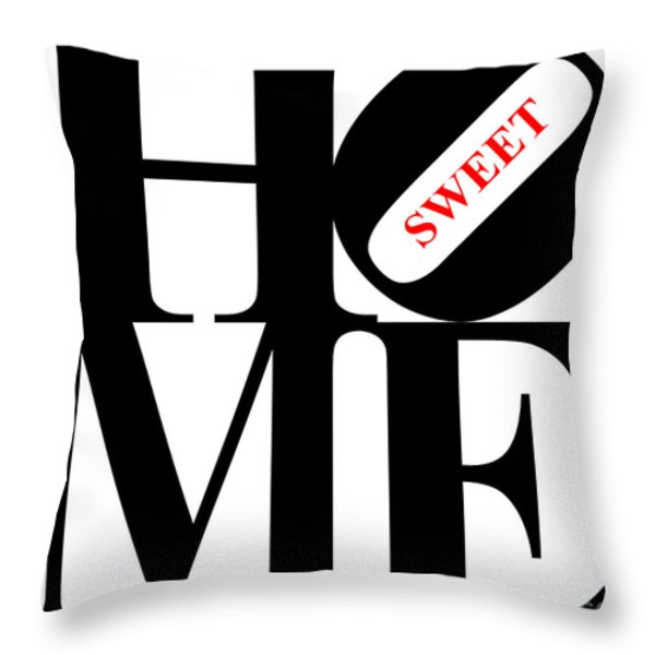 Home Sweet Home 20130713 Black White Red Throw Pillow by Wingsdomain Art and Photography