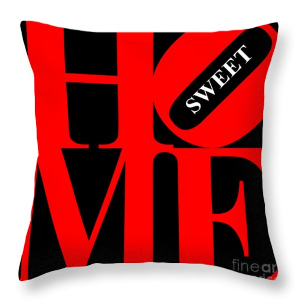Home Sweet Home 20130713 Red Black White Throw Pillow by Wingsdomain Art and Photography
