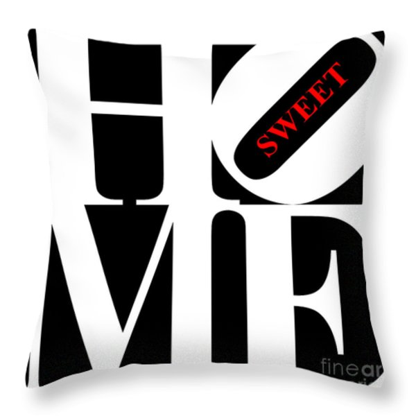 Home Sweet Home 20130713 White Black Red Throw Pillow by Wingsdomain Art and Photography