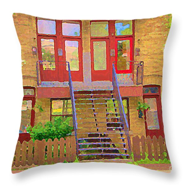 Home Sweet Home Red Wooden Doors The Walk Up Where We Grew Up Montreal Memories Carole Spandau Throw Pillow by Carole Spandau