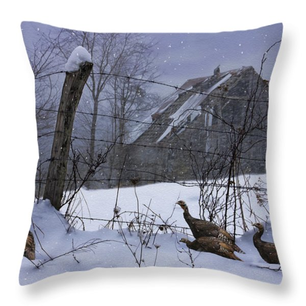 Home Through The Snow Throw Pillow by Ron Jones