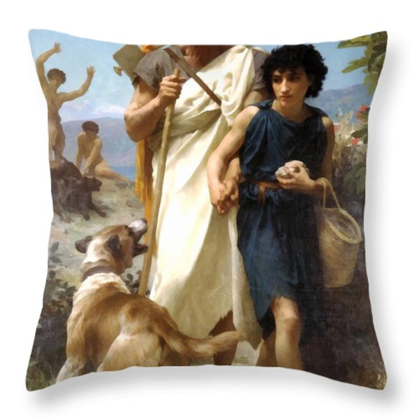 Homer And His Guide Throw Pillow by William Bouguereau