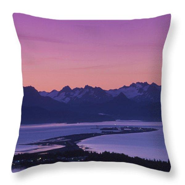 Homer Spit Sunset Kenai Mtns Kenai Throw Pillow by Jeff Schultz
