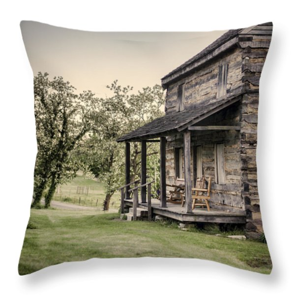 Homestead At Dusk Throw Pillow by Heather Applegate