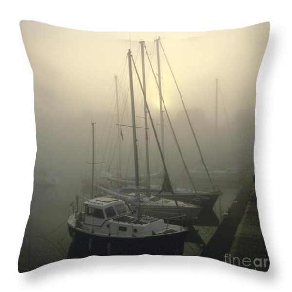Honfleur Harbour In Fog. Calvados. Normandy Throw Pillow by Bernard Jaubert