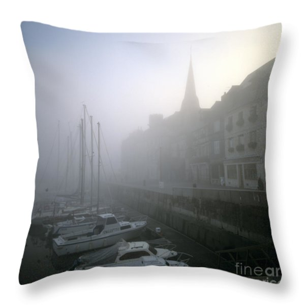 Honfleur Harbour In Fog. Calvados. Normandy. France. Europe Throw Pillow by Bernard Jaubert