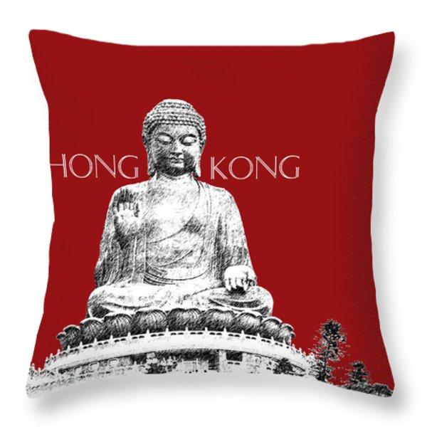 Hong Kong Skyline Tian Tan Buddha - Dark Red Throw Pillow by DB Artist