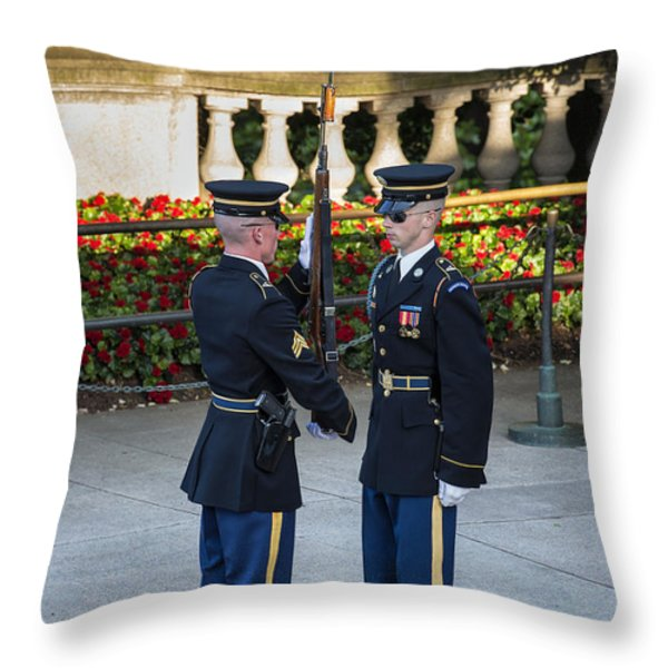 Honor Guard Inspection Throw Pillow by John Greim