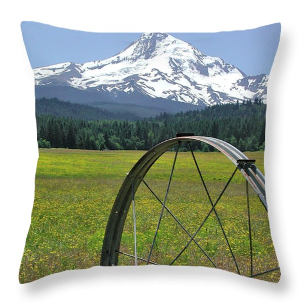 Hood Meadow Throw Pillow by Arthur Fix