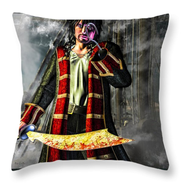 Hook Pirate Extraordinaire Throw Pillow by Bob Orsillo
