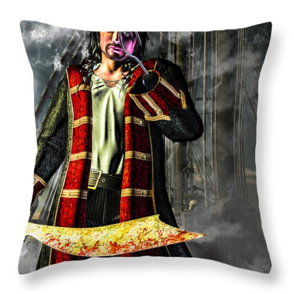 Hook Pirate Extraordinaire Throw Pillow by Bob Orsillo