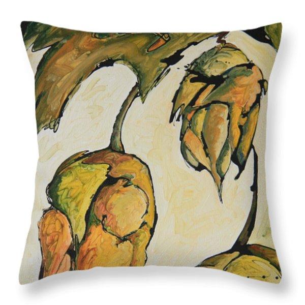 Hop Harvest Throw Pillow by Alexandra Ortiz de Fargher