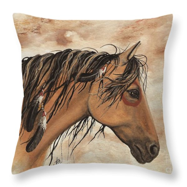 Hopa - Majestic Mustang Series Throw Pillow by AmyLyn Bihrle
