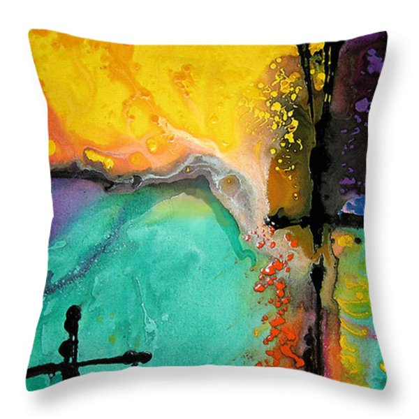 Hope - Colorful Abstract Art By Sharon Cummings Throw Pillow by Sharon Cummings