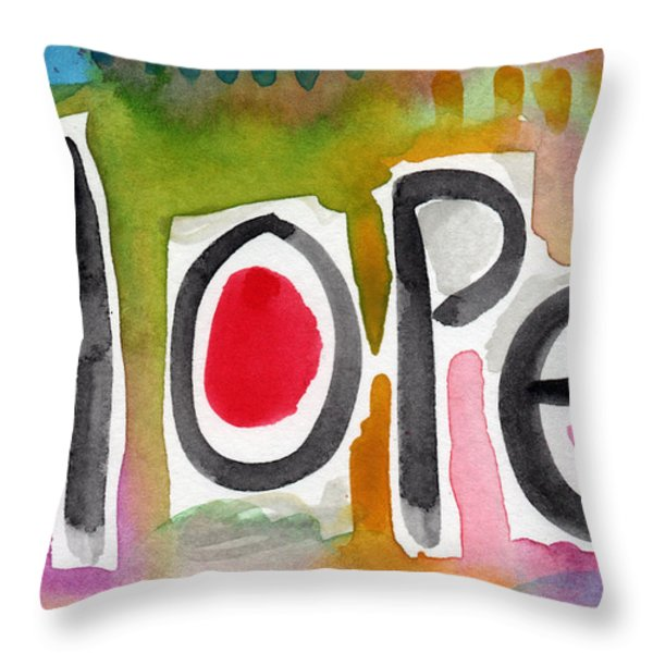 Hope- colorful abstract painting Throw Pillow by Linda Woods