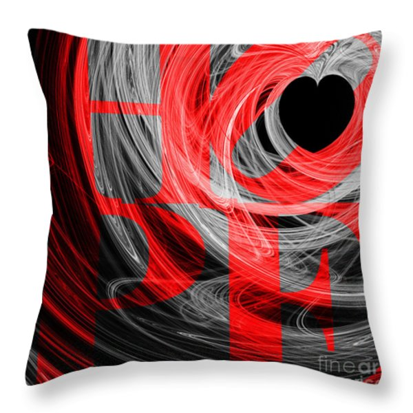 Hope Fractal Heart 20130710 V2b Throw Pillow by Wingsdomain Art and Photography