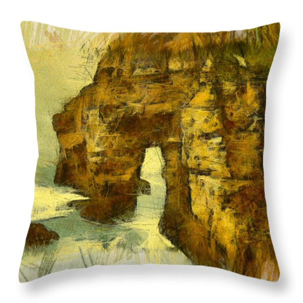 Horn Head Temple Arch Throw Pillow by Unknown