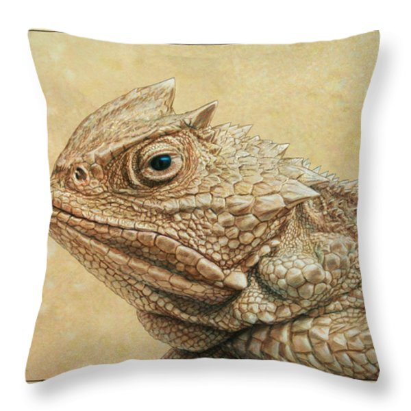 Horned Toad Throw Pillow by James W Johnson