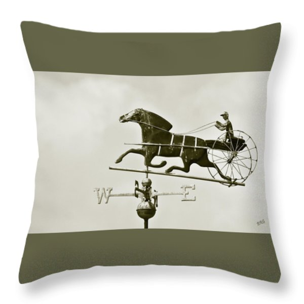 Horse And Buggy Weathervane In Sepia Throw Pillow by Ben and Raisa Gertsberg