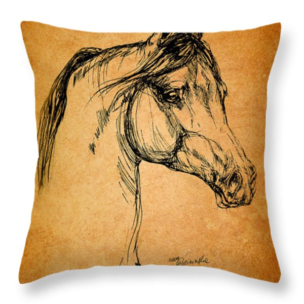 horse drawing Throw Pillow by Angel  Tarantella