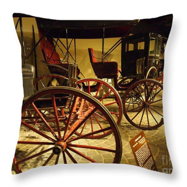 Horse Drawn Buggy Throw Pillow by Deborah Fay