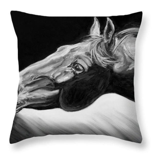 Horse Head Black and White Study Throw Pillow by Renee Forth-Fukumoto