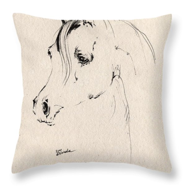 Horse Head Sketch Throw Pillow by Angel  Tarantella