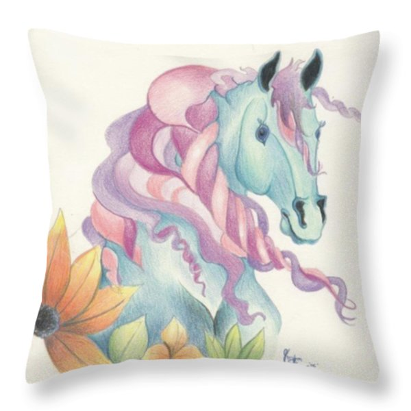 Horse Of A Different Colour Throw Pillow by Kirsten Slaney