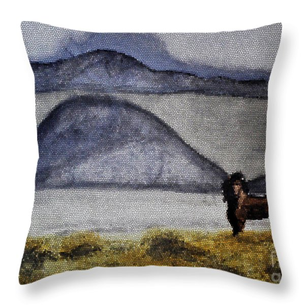 Horse Of The Mountains With Stained Glass Effect Throw Pillow by Verana Stark